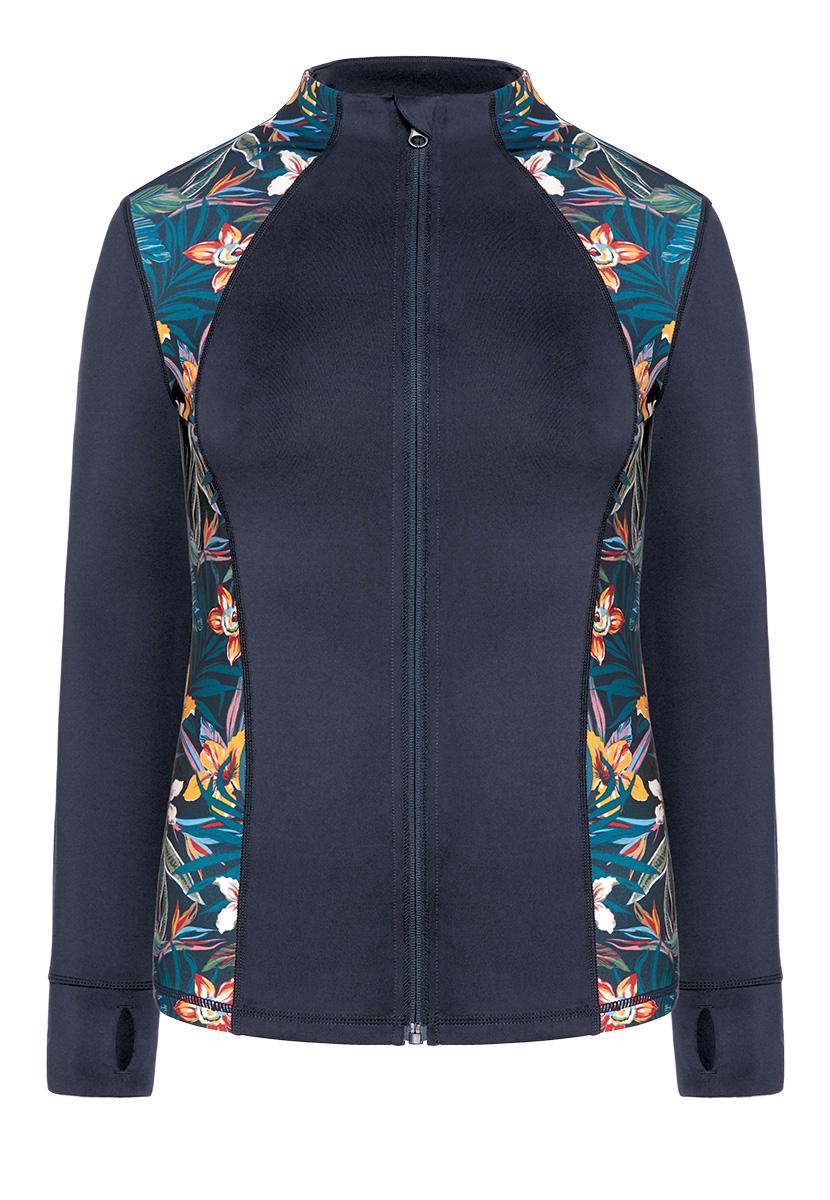 Купить со скидкой Куртка спортивная, синяя с принтом