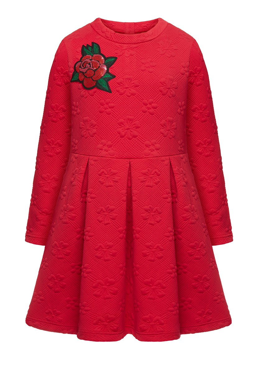 Купить со скидкой Стеганое платье для девочки, цвет малиновый