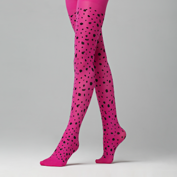Leopard patterned tights for kids 50 DEN raspberry