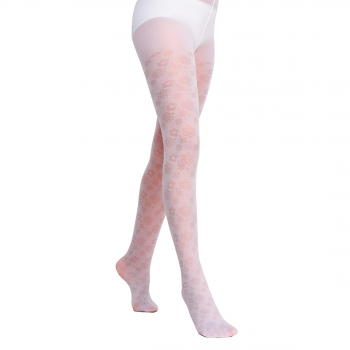 Fantasy style kids tights with a floral jacquard pattern SD127 20 den white