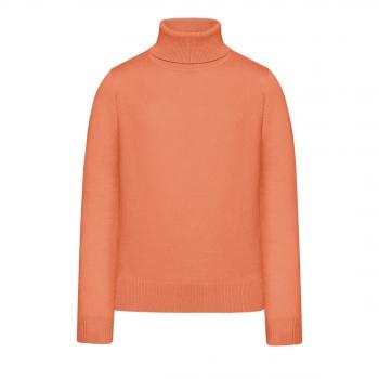 Girls High Collar Knit Jumper coral