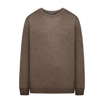 117M2301 Adīts džemperis vīrietim brūnas melanžas krāsā