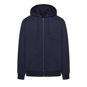 Trikotāžas jaka ar rāvējslēdzēju un kapuci vīrietim tumši zilā krāsā