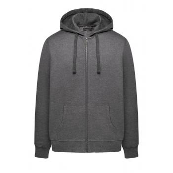 Trikotāžas jaka ar rāvējslēdzēju un kapuci vīrietim tumši pelēkas melanžas krāsā