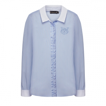 Блузка с рюшами для девочки цвет голубой