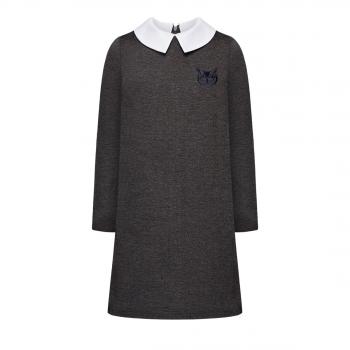 Трикотажное платье с вышивкой для девочки цвет темносерый меланж