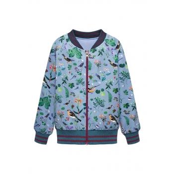 Girls printed jersey bomber jacket