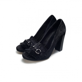 Womens Violet block heel pumps black