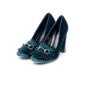 Womens Violet block heel pumps emerald