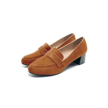 Womens Olivia block heel loafers light brown