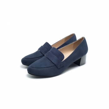 Womens Olivia block heel loafers blue