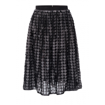 Lengthened applique skirt black