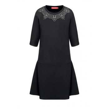 Трикотажное платье со стразами цвет черный
