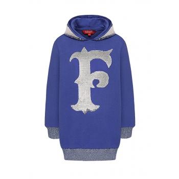 Girls  lengthened hoodie bright blue