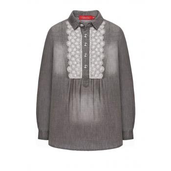 Girls denim lace blouse grey