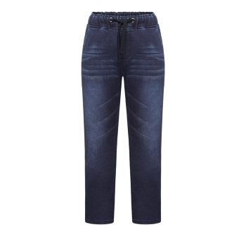 Boys denim texture trousers dark blue