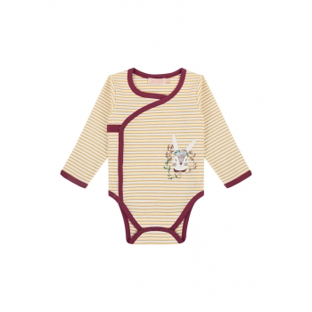 Baby Girl striped jersey kimono bodysuit with a print motif amber