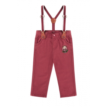 baby Girl embroidered suspender pants burgundy