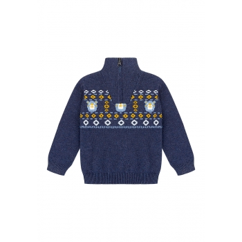 Baby Boy fair isle knit jumper dark blue
