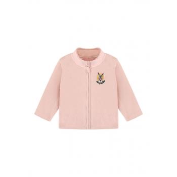 Baby Girl fleece sweatshirt with embroidery and jersey lining light pink