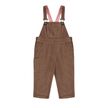 Girls overalls with velvet bib and straps amber