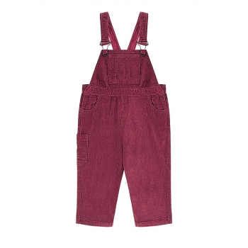 Girls overalls with velvet bib and straps burgundy