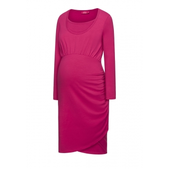 Womens long sleeve jersey dress raspberry