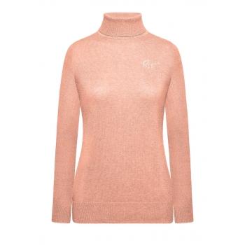 Вязаная водолазка с вышивкой цвет розовый меланж