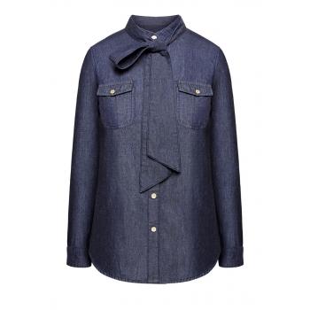 Блузка с длинным рукавом для женщины цвет синий деним