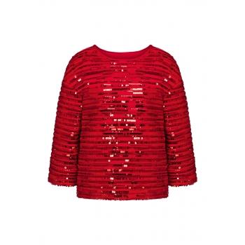 Трикотажная блузка с пайетками цвет алый