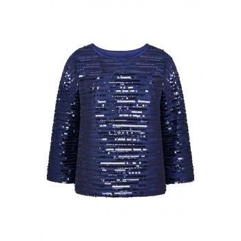 Трикотажная блузка с пайетками цвет темносиний