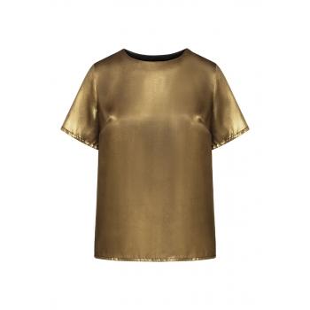 Блузка с трикотажной спинкой цвет бронзовозолотистый