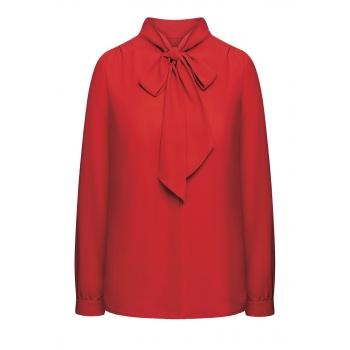 Блузка с бантом цвет алый
