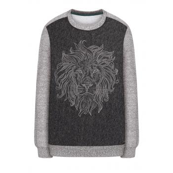 157B2501 Trikotāžas džemperis zēnam pelēkas melanžas krāsā ar apdruku