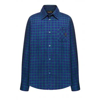 157B2602 Rūtains flaneļa krekls zēnam zilās un zaļās krāsas kombinācija