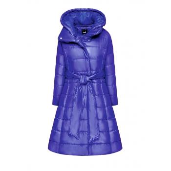 Утепленное стеганое пальто с поясом цвет яркосиний
