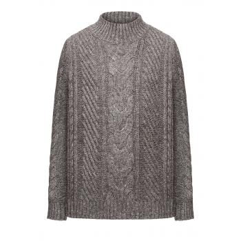 167B2303 Adīts džemperis zēnam pelēkas melanžas krāsā ar pīnēm