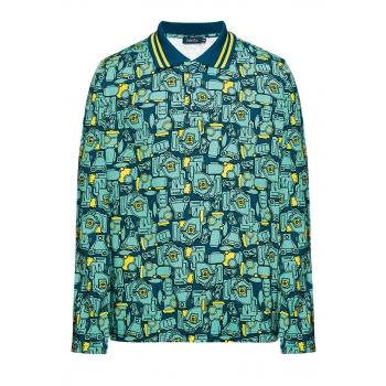 167B2801 Trikotāžas polo krekls zēnam tumšā tirkīza krāsā