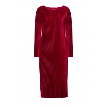 Sukienka z gofrowanego aksamitu kolor ciemnojagodowy