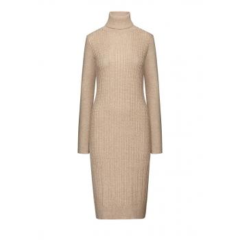 Удлиненное вязаное платье цвет бежевый