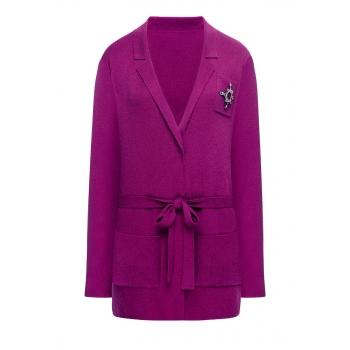 Pleciony sweter kolor fuksja