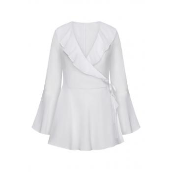 Блузка с воланами цвет белый