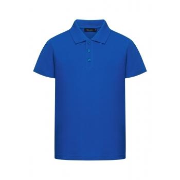 028B2801 Trikotāžas pikē polo krekls zēnam koši zilā krāsā