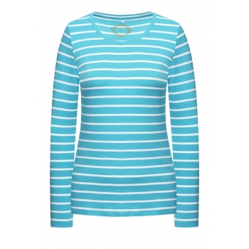 Трикотажная футболка в полоску цвет бирюзовый