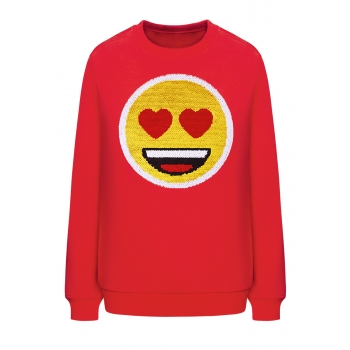 Emoji Sequin Applique Sweatshirt red