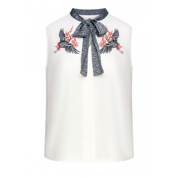 Embroidered Bow Blouse white