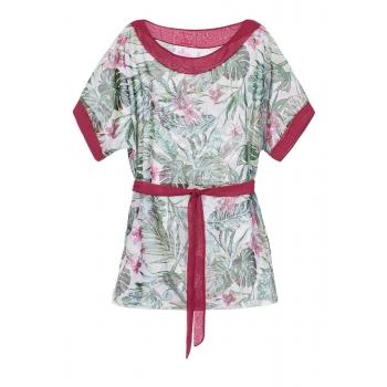 Пляжное платье короткое тропический принт