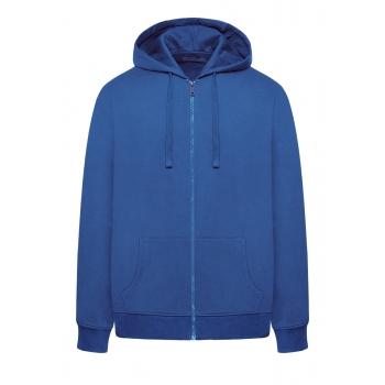 Trikotāžas jaka ar rāvējslēdzēju un kapuci vīrietim spilgti zilā krāsā