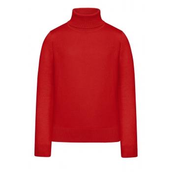 Вязаный джемпер для девочки цвет красный