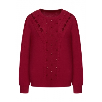 Cable Knit Jumper red